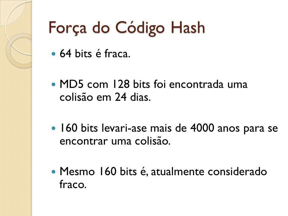 Força do Código Hash 64 bits é fraca. MD5 com 128 bits foi encontrada uma colisão em 24 dias. 160 bits levari-ase mais de 4000 anos para se encontrar