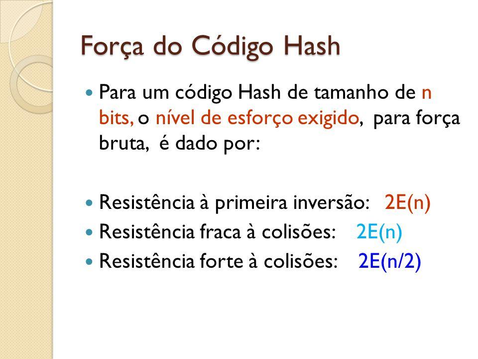 Força do Código Hash Para um código Hash de tamanho de n bits, o nível de esforço exigido, para força bruta, é dado por: Resistência à primeira inversão: 2E(n) Resistência fraca à colisões: 2E(n) Resistência forte à colisões: 2E(n/2)