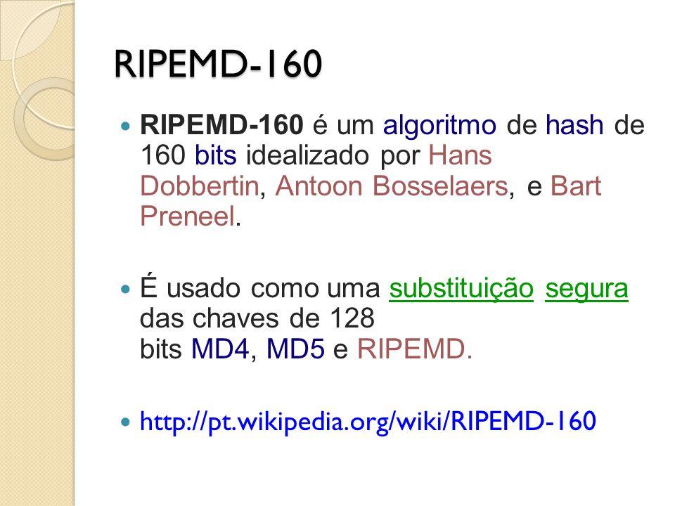 RIPEMD-160 RIPEMD-160 é um algoritmo de hash de 160 bits idealizado por Hans Dobbertin, Antoon Bosselaers, e Bart Preneel. É usado como uma substituiç