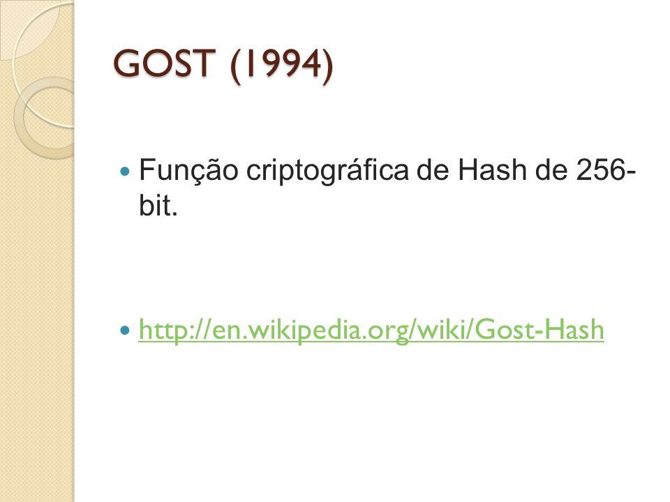 GOST (1994) Função criptográfica de Hash de 256- bit. http://en.wikipedia.org/wiki/Gost-Hash
