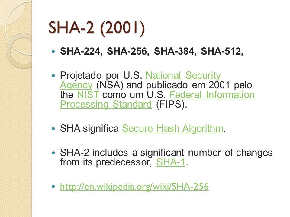 SHA-2 (2001) SHA-224, SHA-256, SHA-384, SHA-512, Projetado por U.S. National Security Agency (NSA) and publicado em 2001 pelo the NIST como um U.S. Fe