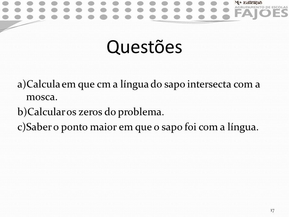 Questões a)Calcula em que cm a língua do sapo intersecta com a mosca. b)Calcular os zeros do problema. c)Saber o ponto maior em que o sapo foi com a l