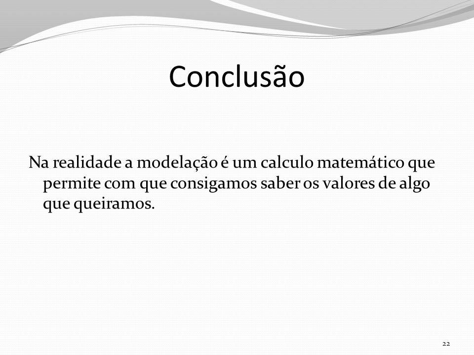 Conclusão Na realidade a modelação é um calculo matemático que permite com que consigamos saber os valores de algo que queiramos. 22