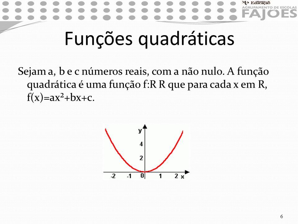 Funções quadráticas Sejam a, b e c números reais, com a não nulo. A função quadrática é uma função f:R R que para cada x em R, f(x)=ax²+bx+c. 6