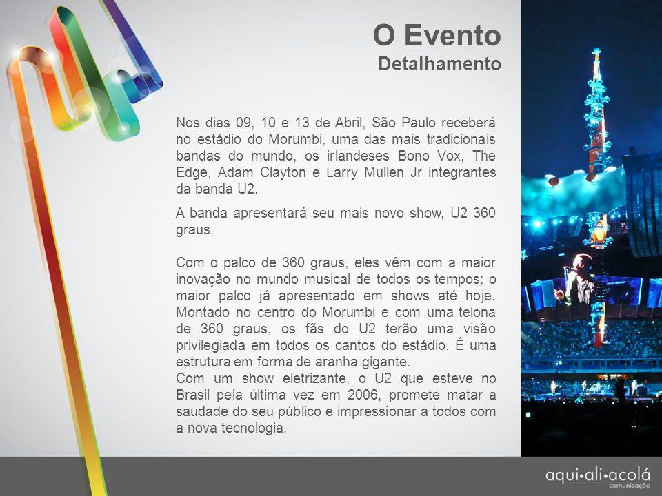 Detalhamento Nos dias 09, 10 e 13 de Abril, São Paulo receberá no estádio do Morumbi, uma das mais tradicionais bandas do mundo, os irlandeses Bono Vo