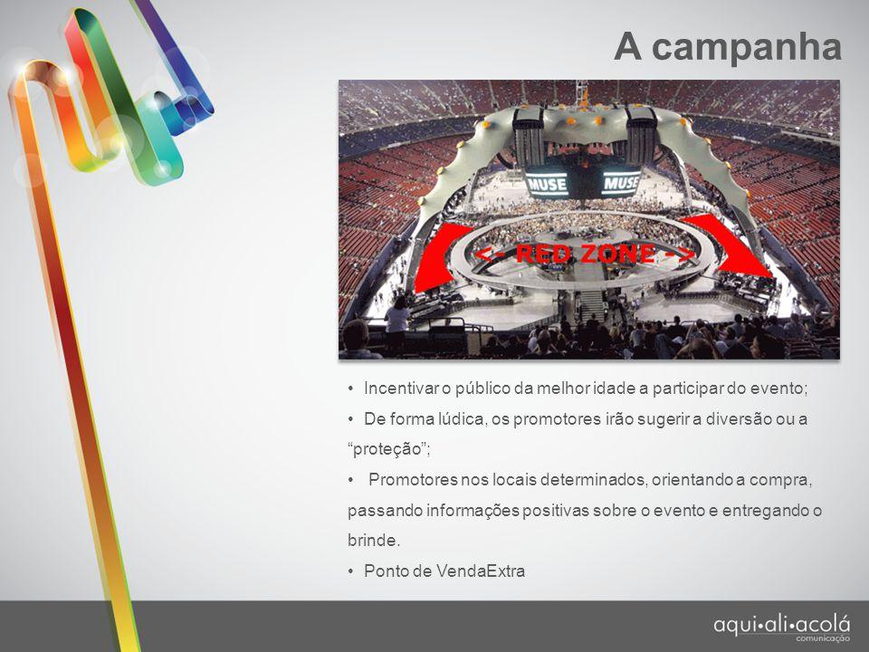 """A campanha Incentivar o público da melhor idade a participar do evento; De forma lúdica, os promotores irão sugerir a diversão ou a """"proteção""""; Promot"""