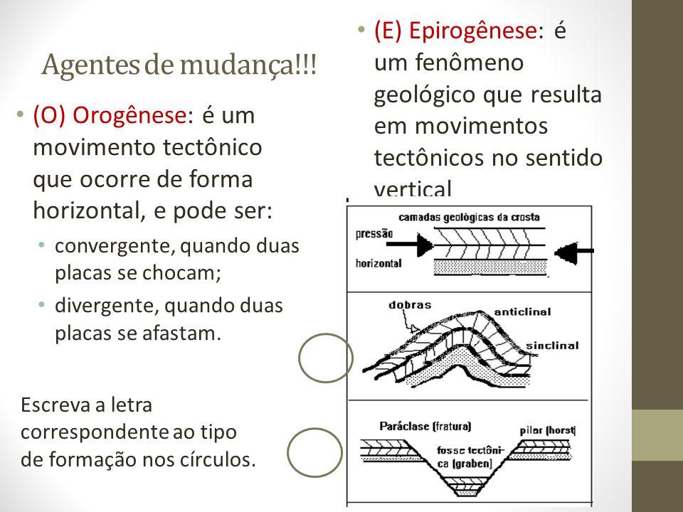 Agentes de mudança!!! (O) Orogênese: é um movimento tectônico que ocorre de forma horizontal, e pode ser: convergente, quando duas placas se chocam; d