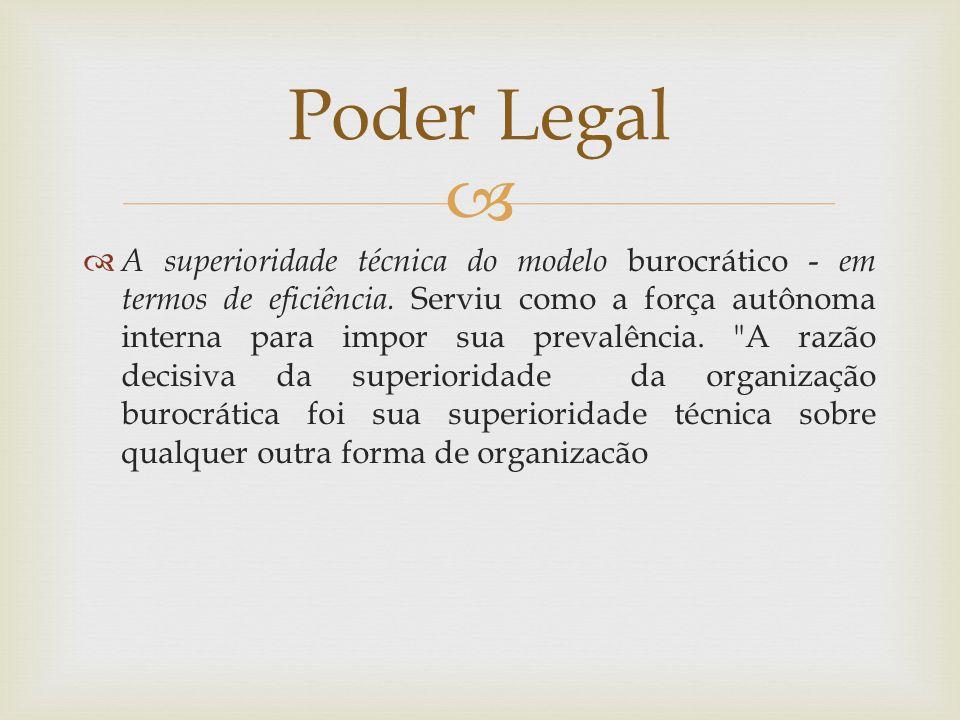  A superioridade técnica do modelo burocrático - em termos de eficiência. Serviu como a força autônoma interna para impor sua prevalência.