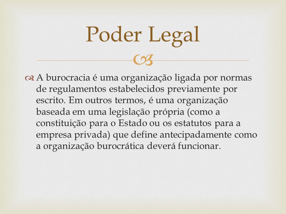   A burocracia é uma organização ligada por normas de regulamentos estabelecidos previamente por escrito. Em outros termos, é uma organização basead