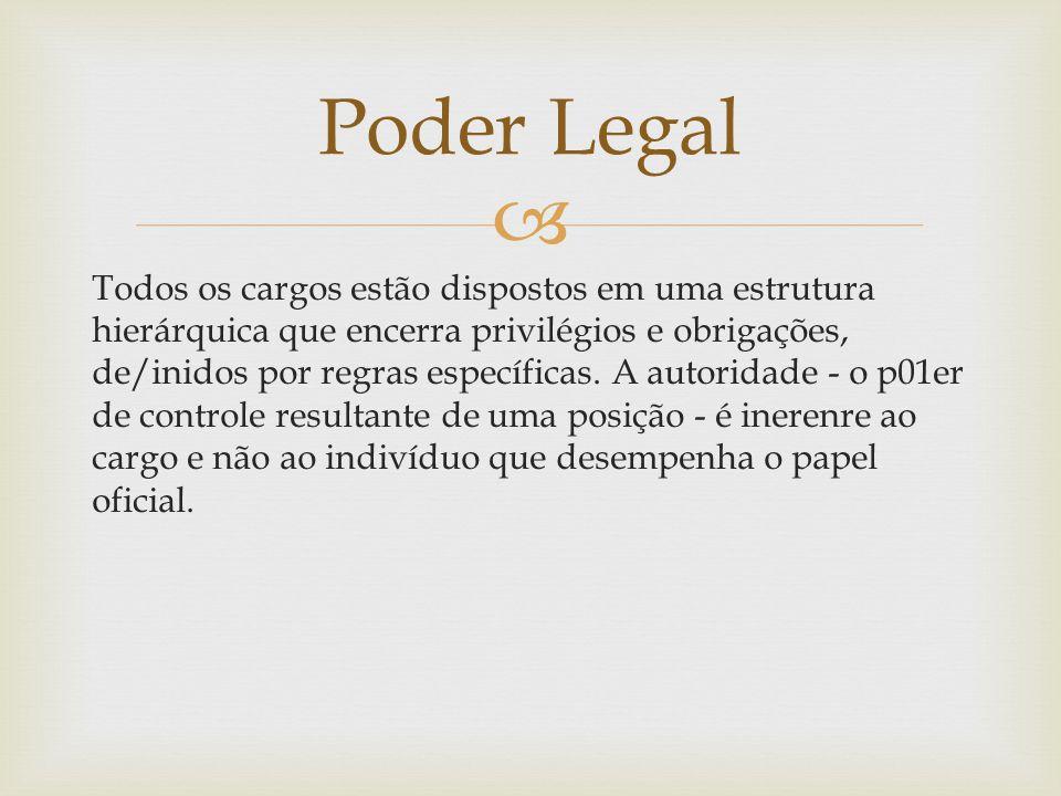 Todos os cargos estão dispostos em uma estrutura hierárquica que encerra privilégios e obrigações, de/inidos por regras específicas. A autoridade -