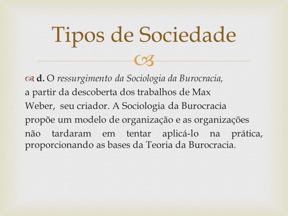   d. O ressurgimento da Sociologia da Burocracia, a partir da descoberta dos trabalhos de Max Weber, seu criador. A Sociologia da Burocracia propõe