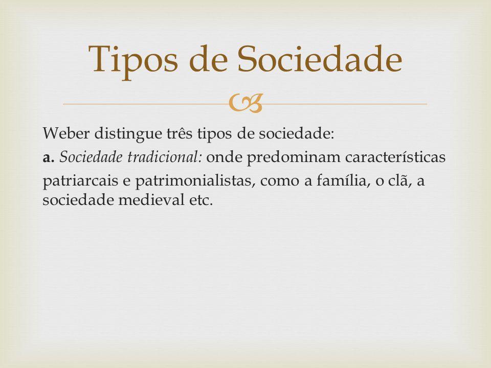  Weber distingue três tipos de sociedade: a. Sociedade tradicional: onde predominam características patriarcais e patrimonialistas, como a família, o