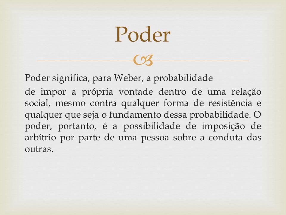  Poder significa, para Weber, a probabilidade de impor a própria vontade dentro de uma relação social, mesmo contra qualquer forma de resistência e qualquer que seja o fundamento dessa probabilidade.