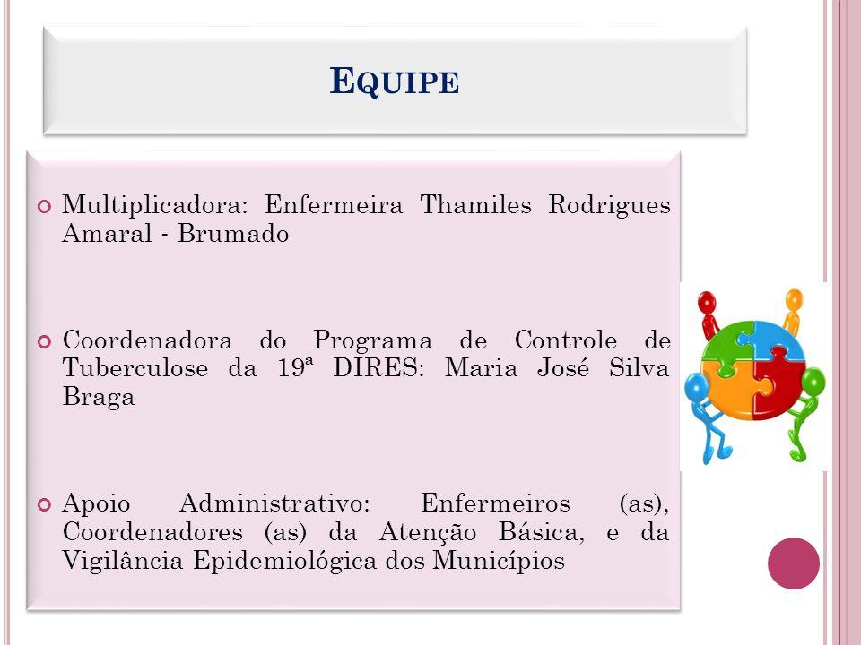 E QUIPE Multiplicadora: Enfermeira Thamiles Rodrigues Amaral - Brumado Coordenadora do Programa de Controle de Tuberculose da 19ª DIRES: Maria José Si
