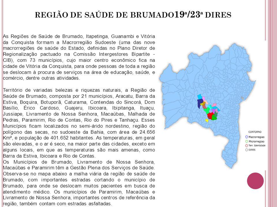 REGIÃO DE SAÚDE DE BRUMADO 19 ª /23 ª DIRES As Regiões de Saúde de Brumado, Itapetinga, Guanambi e Vitória da Conquista formam a Macrorregião Sudoeste