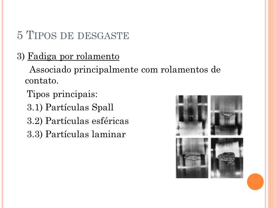 5 T IPOS DE DESGASTE 3) Fadiga por rolamento Associado principalmente com rolamentos de contato. Tipos principais: 3.1) Partículas Spall 3.2) Partícul