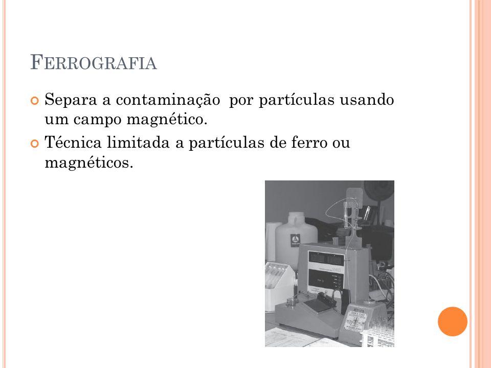 F ERROGRAFIA Separa a contaminação por partículas usando um campo magnético. Técnica limitada a partículas de ferro ou magnéticos.