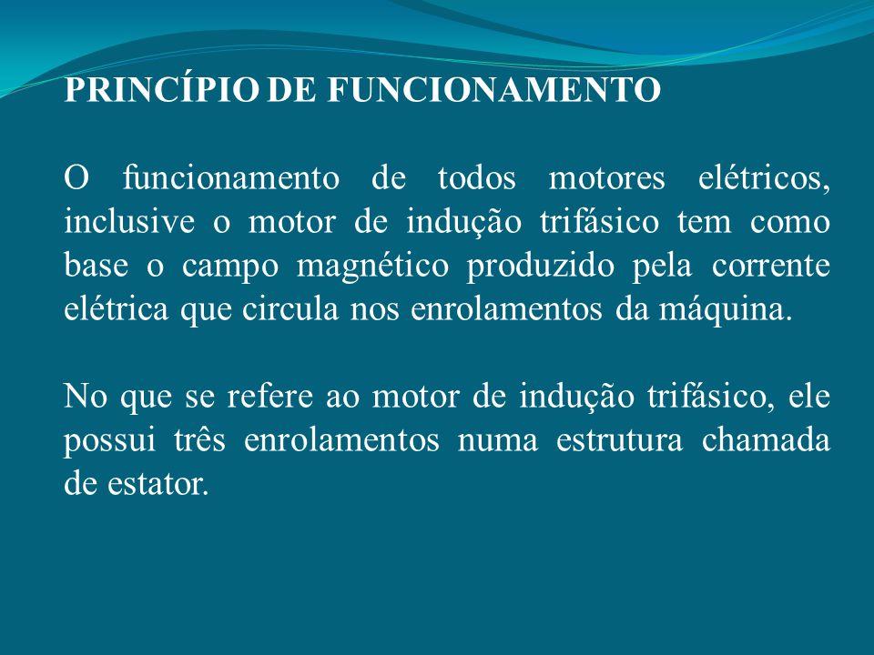 PRINCÍPIO DE FUNCIONAMENTO O funcionamento de todos motores elétricos, inclusive o motor de indução trifásico tem como base o campo magnético produzid