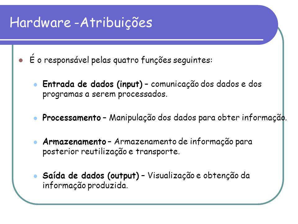 É o responsável pelas quatro funções seguintes: Entrada de dados (input) – comunicação dos dados e dos programas a serem processados. Processamento –