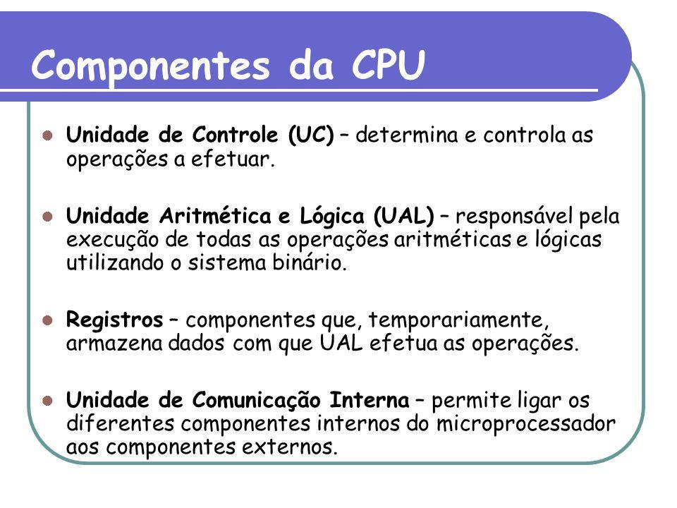 Componentes da CPU Unidade de Controle (UC) – determina e controla as operações a efetuar. Unidade Aritmética e Lógica (UAL) – responsável pela execuç