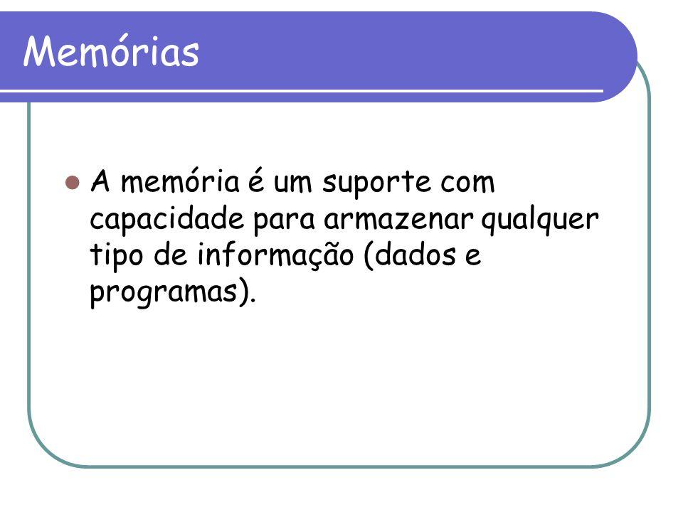 Memórias A memória é um suporte com capacidade para armazenar qualquer tipo de informação (dados e programas).