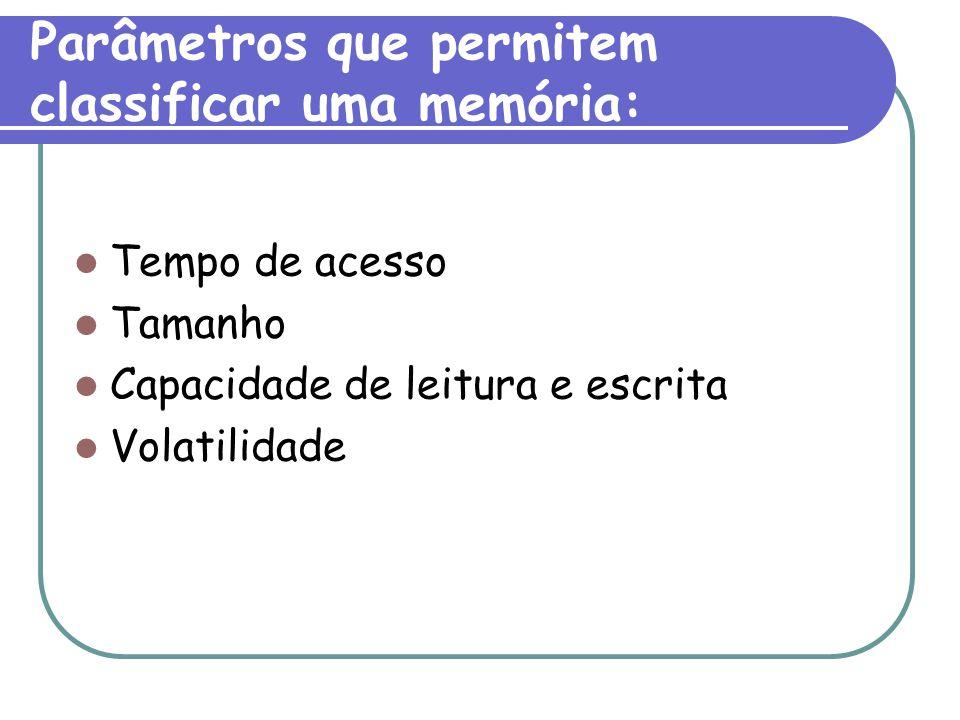 Parâmetros que permitem classificar uma memória: Tempo de acesso Tamanho Capacidade de leitura e escrita Volatilidade