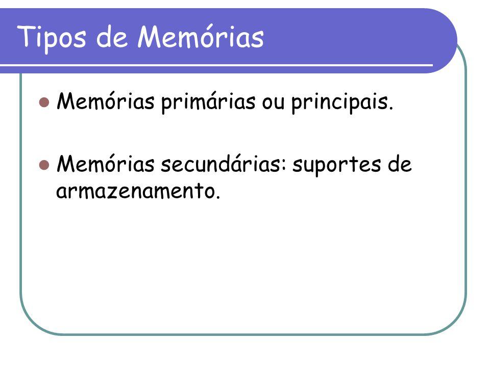 Tipos de Memórias Memórias primárias ou principais. Memórias secundárias: suportes de armazenamento.