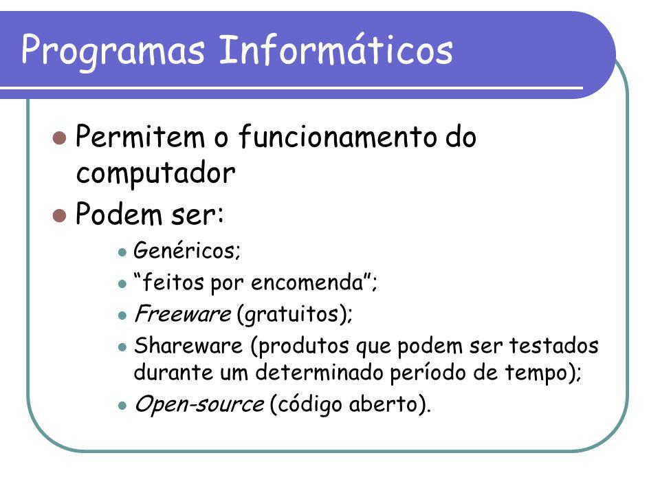 """Programas Informáticos Permitem o funcionamento do computador Podem ser: Genéricos; """"feitos por encomenda""""; Freeware (gratuitos); Shareware (produtos"""