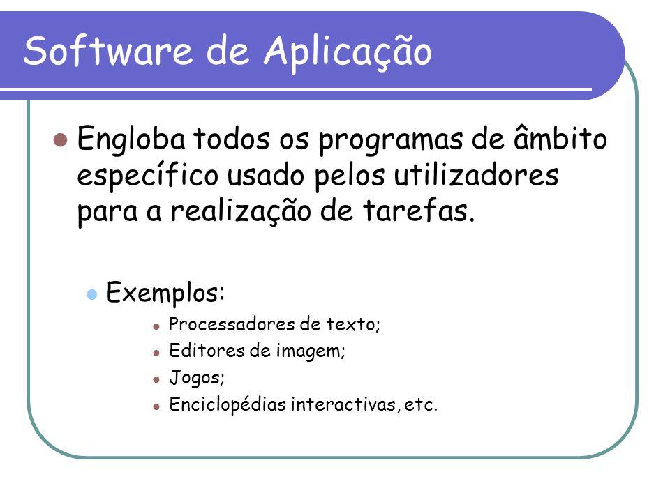 Software de Aplicação Engloba todos os programas de âmbito específico usado pelos utilizadores para a realização de tarefas. Exemplos: Processadores d