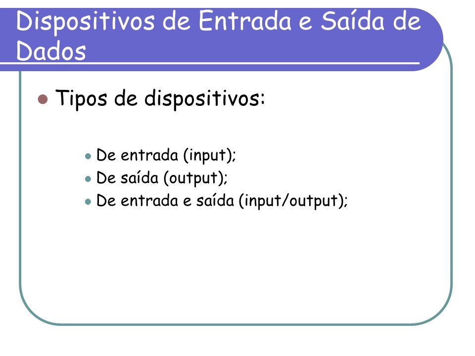 Dispositivos de Entrada e Saída de Dados Tipos de dispositivos: De entrada (input); De saída (output); De entrada e saída (input/output);