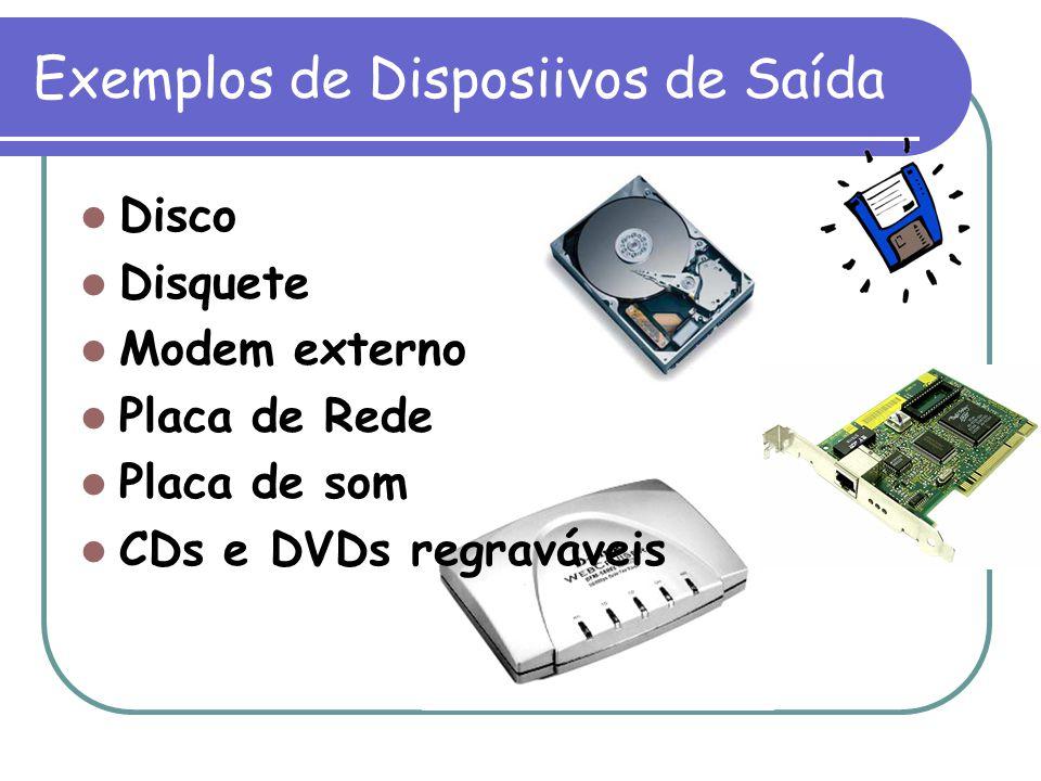 Exemplos de Disposiivos de Saída Disco Disquete Modem externo Placa de Rede Placa de som CDs e DVDs regraváveis
