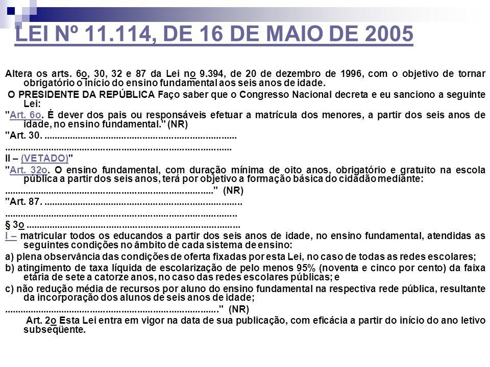 LEI Nº 11.114, DE 16 DE MAIO DE 2005 Altera os arts. 6o, 30, 32 e 87 da Lei no 9.394, de 20 de dezembro de 1996, com o objetivo de tornar obrigatório