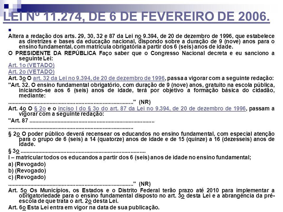 LEI Nº 11.274, DE 6 DE FEVEREIRO DE 2006. Altera a redação dos arts. 29, 30, 32 e 87 da Lei no 9.394, de 20 de dezembro de 1996, que estabelece as dir