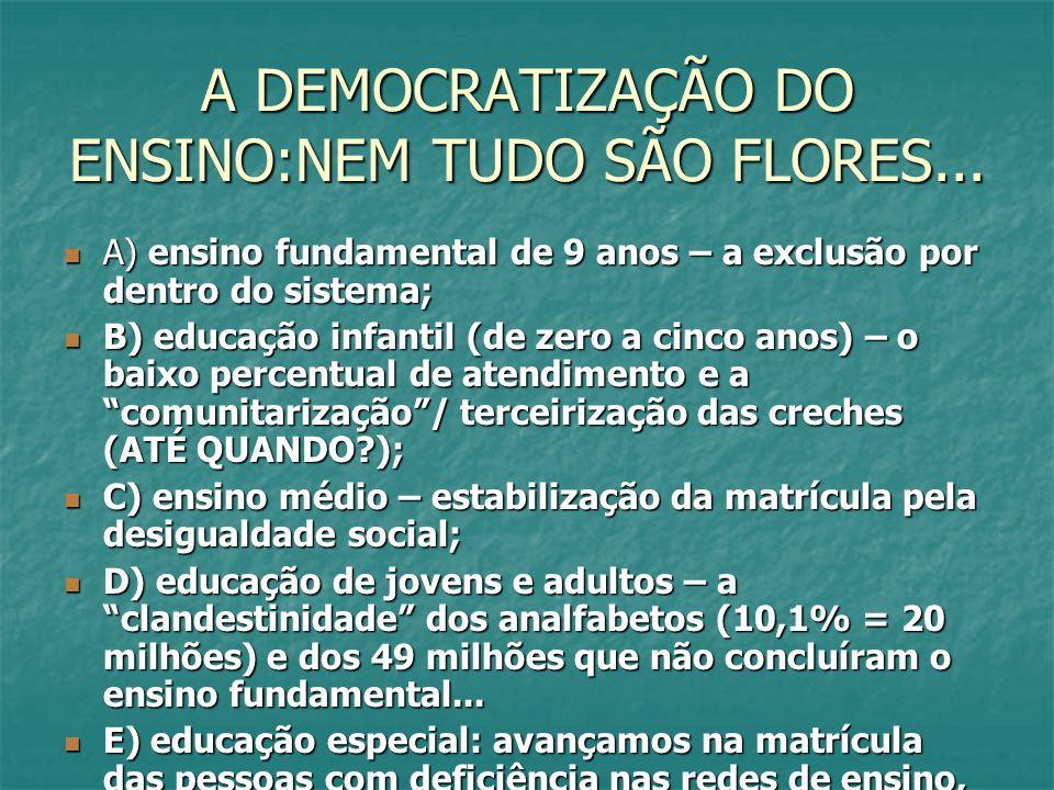 A DEMOCRATIZAÇÃO DO ENSINO:NEM TUDO SÃO FLORES... A) ensino fundamental de 9 anos – a exclusão por dentro do sistema; A) ensino fundamental de 9 anos