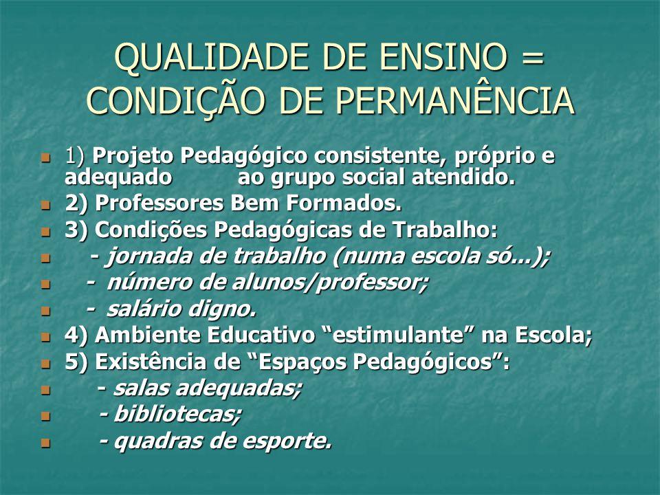 QUALIDADE DE ENSINO = CONDIÇÃO DE PERMANÊNCIA 1) Projeto Pedagógico consistente, próprio e adequado ao grupo social atendido. 1) Projeto Pedagógico co