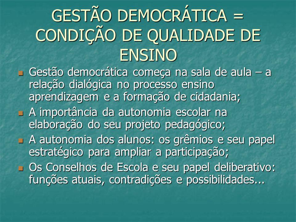 GESTÃO DEMOCRÁTICA = CONDIÇÃO DE QUALIDADE DE ENSINO Gestão democrática começa na sala de aula – a relação dialógica no processo ensino aprendizagem e