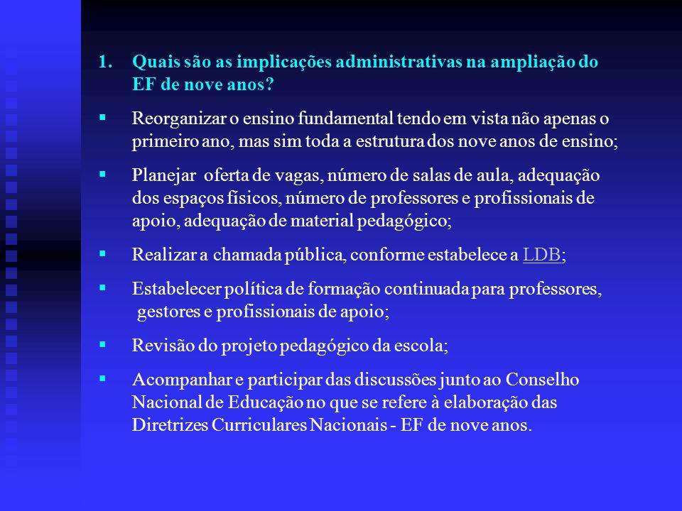 1.Quais são as implicações administrativas na ampliação do EF de nove anos?  Reorganizar o ensino fundamental tendo em vista não apenas o primeiro an