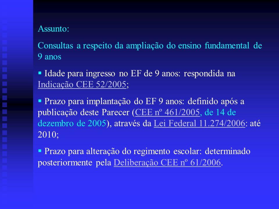 Assunto: Consultas a respeito da ampliação do ensino fundamental de 9 anos  Idade para ingresso no EF de 9 anos: respondida na Indicação CEE 52/2005;