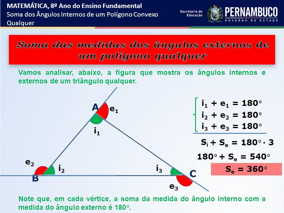 Vamos analisar, abaixo, a figura que mostra os ângulos internos e externos de um triângulo qualquer. A B C i 1 i 2 i 3 e 1 e 2 e 3 i 1 + e 1 = 180 ° i