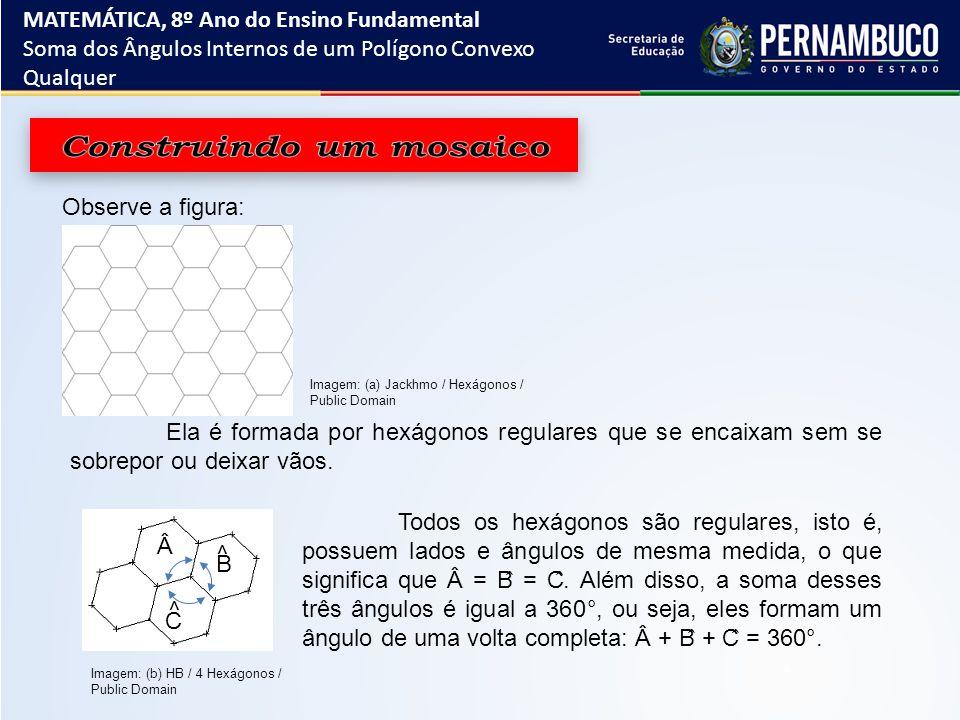 Observe a figura: Ela é formada por hexágonos regulares que se encaixam sem se sobrepor ou deixar vãos. Todos os hexágonos são regulares, isto é, poss