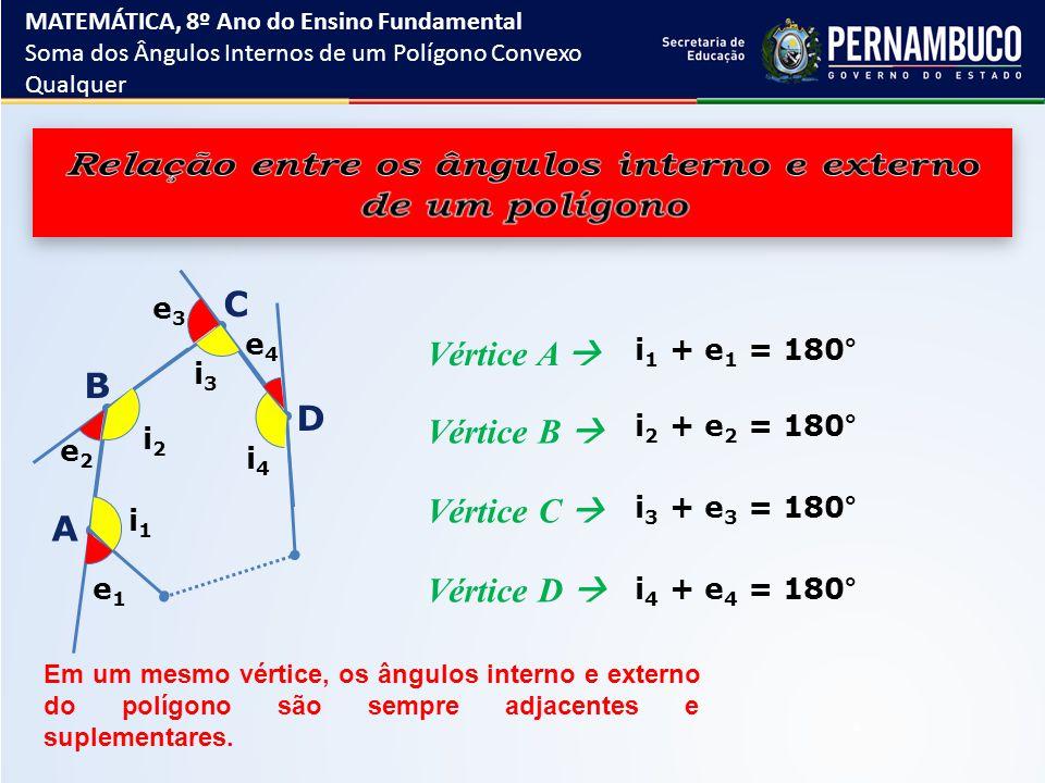 i1i1 i2i2 i3i3 i4i4 e1e1 e2e2 e3e3 e4e4 i 1 + e 1 = 180° i 2 + e 2 = 180° i 3 + e 3 = 180° i 4 + e 4 = 180° inin + e n = 180° S i + S e = 180° ∙ n S e = 180° ∙ n – S i S e = 180° ∙ n – 180° ∙ (n – 2) S e = 180° ∙ n – 180° ∙ n + 360° S e = 360° A soma S e das medidas dos ângulos externos de um polígono qualquer é 360º.