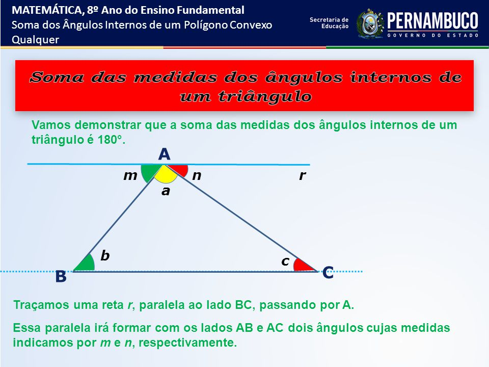 Vamos demonstrar que a soma das medidas dos ângulos internos de um triângulo é 180 °. a b n A B C r Traçamos uma reta r, paralela ao lado BC, passando
