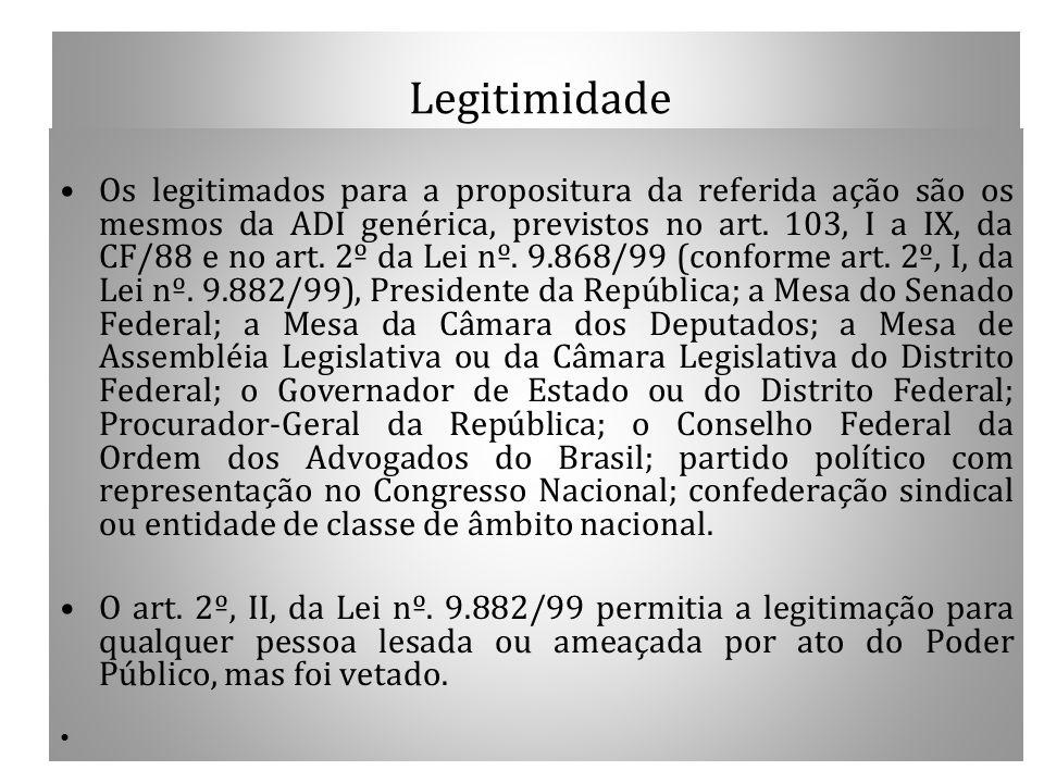 Legitimidade Os legitimados para a propositura da referida ação são os mesmos da ADI genérica, previstos no art. 103, I a IX, da CF/88 e no art. 2º da