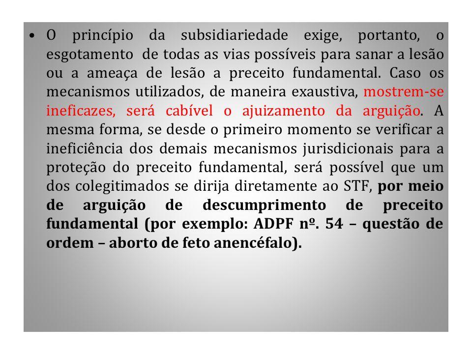 Continuação O princípio da subsidiariedade exige, portanto, o esgotamento de todas as vias possíveis para sanar a lesão ou a ameaça de lesão a preceit