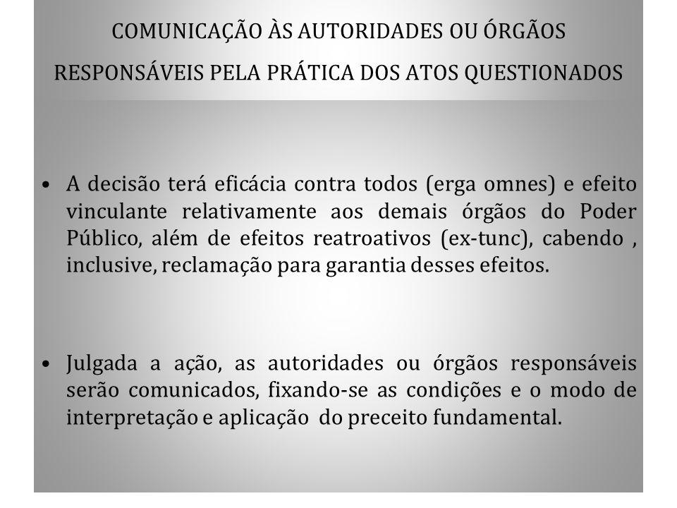COMUNICAÇÃO ÀS AUTORIDADES OU ÓRGÃOS RESPONSÁVEIS PELA PRÁTICA DOS ATOS QUESTIONADOS A decisão terá eficácia contra todos (erga omnes) e efeito vincul