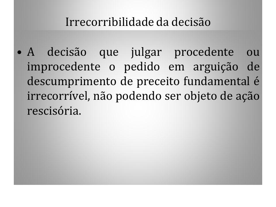 Irrecorribilidade da decisão A decisão que julgar procedente ou improcedente o pedido em arguição de descumprimento de preceito fundamental é irrecorr