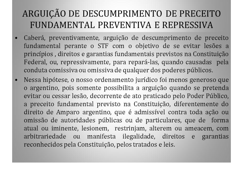 ARGUIÇÃO DE DESCUMPRIMENTO DE PRECEITO FUNDAMENTAL PREVENTIVA E REPRESSIVA Caberá, preventivamente, arguição de descumprimento de preceito fundamental