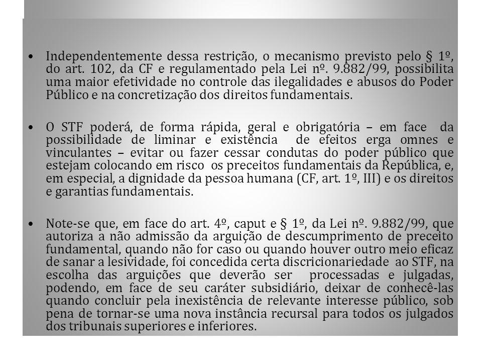 1.14 CONTINUAÇÃO Independentemente dessa restrição, o mecanismo previsto pelo § 1º, do art. 102, da CF e regulamentado pela Lei nº. 9.882/99, possibil