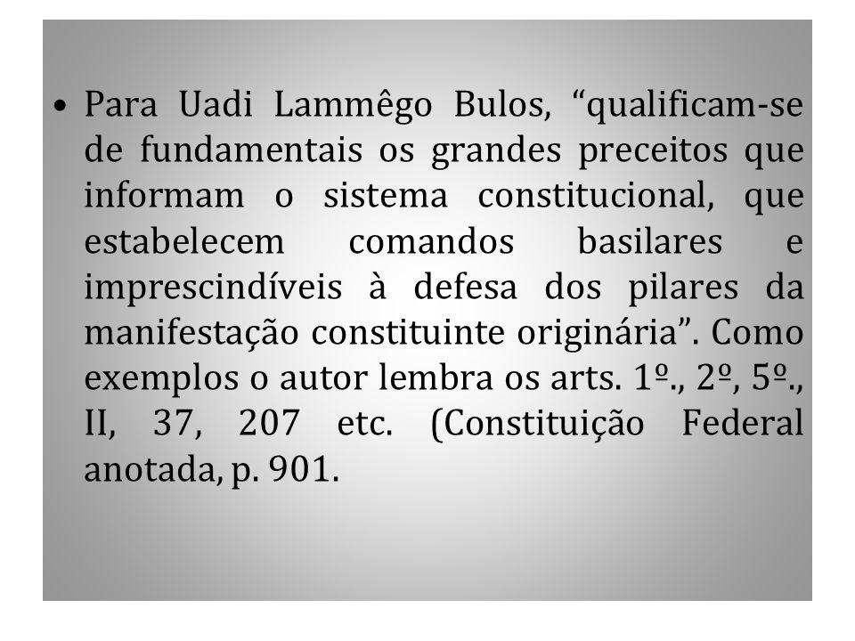 """Para Uadi Lammêgo Bulos, """"qualificam-se de fundamentais os grandes preceitos que informam o sistema constitucional, que estabelecem comandos basilares"""