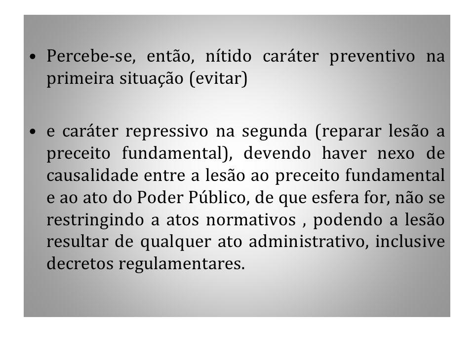 Percebe-se, então, nítido caráter preventivo na primeira situação (evitar) e caráter repressivo na segunda (reparar lesão a preceito fundamental), dev
